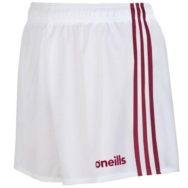 mourne shorts white maroon